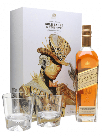 johnnie walker label gold with gift box and two glasses